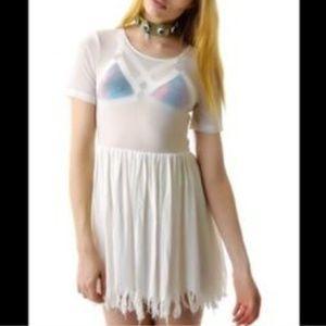White Unif Shredder Dress